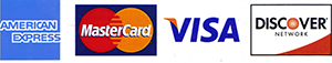 We accept MasterCard, Visa, American Express and Discover cards